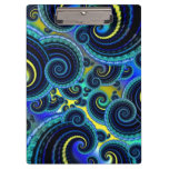 Funky Turquoise and Yellow Swirl Pattern Clipboards