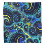 Funky Turquoise and Yellow Swirl Pattern Kerchiefs