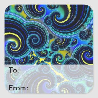 Funky Turquoise and Yellow Swirl Pattern Square Sticker