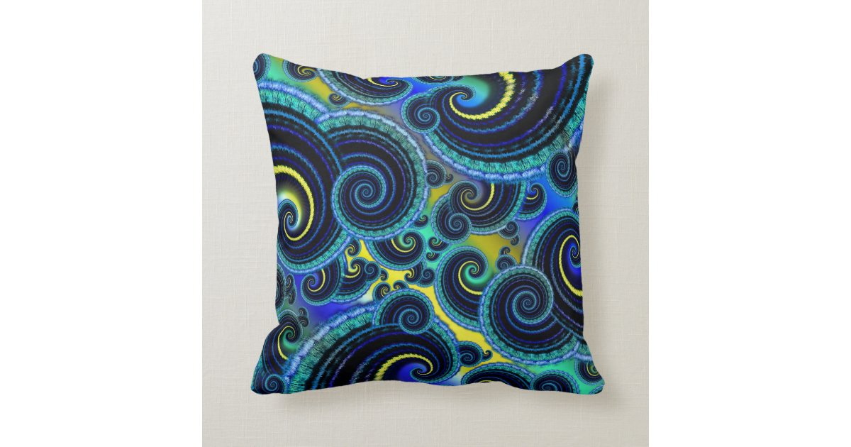Funky Turquoise and Yellow Swirl Pattern Throw Pillow Zazzle