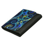 Funky Turquoise and Yellow Swirl Pattern Leather Wallets