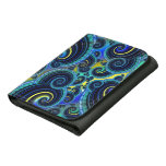 Funky Turquoise and Yellow Swirl Pattern Wallet