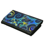 Funky Turquoise and Yellow Swirl Pattern Wallets