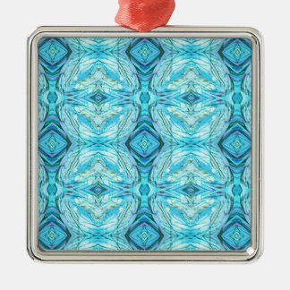 Funky Turquoise Modern Pattern Metal Ornament