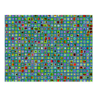 Funky Turquoise Textured Mosaic Tiles Pattern Postcard