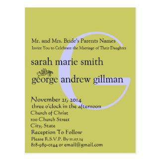 Funky UpBeat Modern Monogram Wedding Invitation Postcard