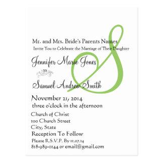 Funky UpBeat Modern Monogram Wedding Invitation Postcards