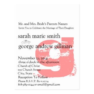 Funky UpBeat Modern Monogram  Wedding Invitation Post Card