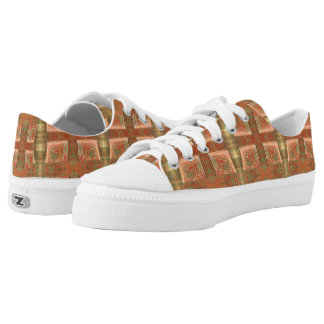 Funky Urban Beige Abstract Design Low-Top Sneakers