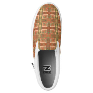 Funky Urban Beige Abstract Design Slip-On Sneakers
