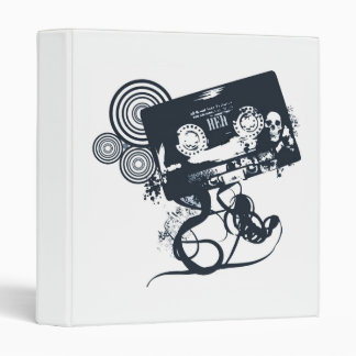 Funky vector cassette 3 ring binders