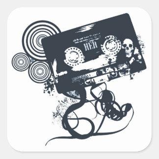 Funky vector cassette square sticker