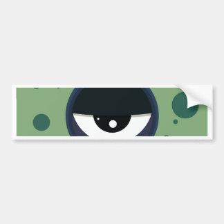 Funky vector eye in goggle melting design bumper sticker