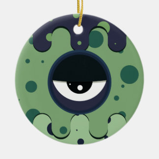 Funky vector eye in goggle melting design ceramic ornament