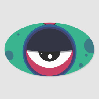 Funky vector eye in goggle melting design oval sticker