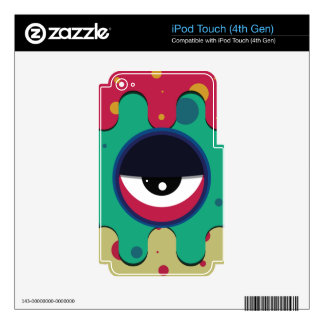 Funky vector eye in goggle melting design decal for iPod touch 4G