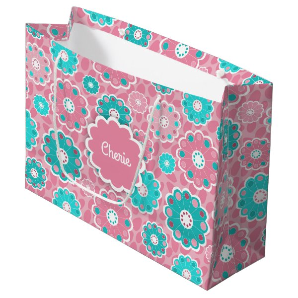 Funky vibrant pink and green floral large gift bag