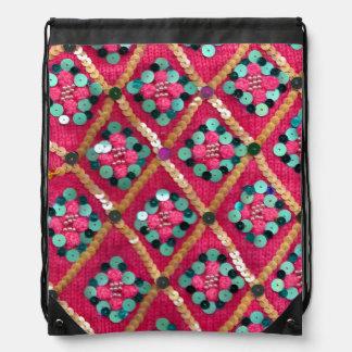 Funky Vibrant Pink Glam Textile Design Drawstring Bags