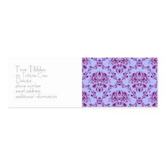 funky vintage art nouveau floral pattern purple business card template