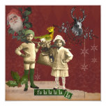 """Funky Vintage Christmas Collage Christmas Card 5.25"""" Square Invitation Card"""