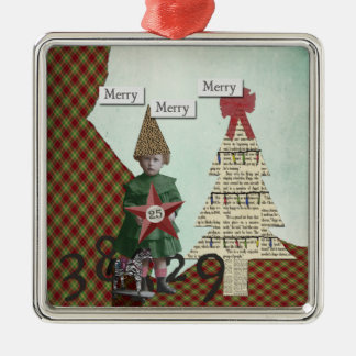 Funky Vintage Christmas Collage Christmas Ornament