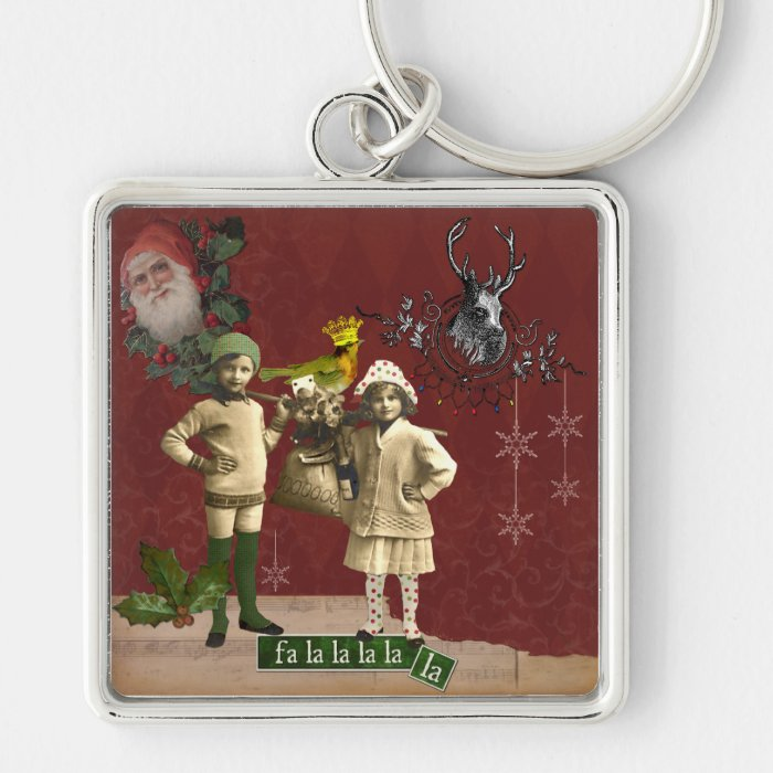 Funky Vintage Christmas Collage Keychain