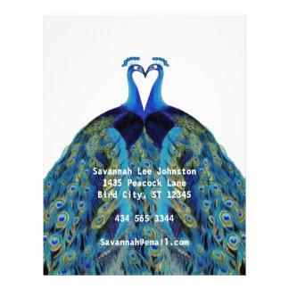 Funky Vintage Peacocks Kissing Letterhead