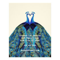 Funky Vintage Peacocks Kissing Letterhead