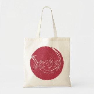 funky vintage pink 'love' tennis ball design budget tote bag