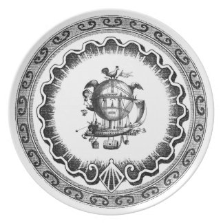 Funky Vintage Steampunk Airship Decorative Plate