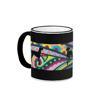 Funky Vizsla Coffee Time Ringer Mug