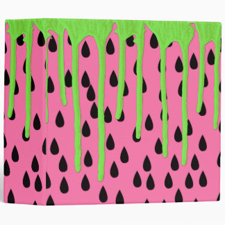 Funky Watermelon Neon Green Paint Drips 3 Ring Binder