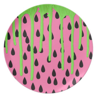 Funky Watermelon Neon Green Paint Drips Melamine Plate