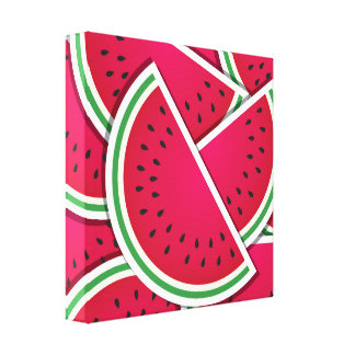 Funky watermelon wedges canvas print