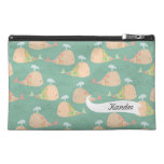Funky Whales Pattern Designer Name Make Up Bag! Travel Accessory Bags