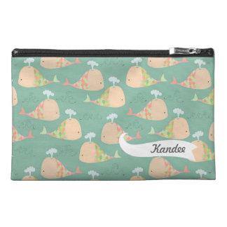 Funky Whales Pattern Designer Name Make Up Bag! Travel Accessory Bag