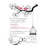 "Funky Whimsical Love Birds Pink Wedding Invite 5"" X 7"" Invitation Card"