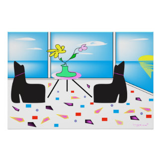 Funky Whimsical Ocean View Colorful Poster