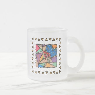 Funky Whimsical Spring Flowers  Frosted Glass Mug