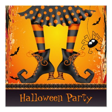 Halloween Themed Funky Whimsical Witch Legs Halloween Party Card