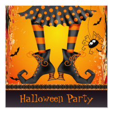 Funky Whimsical Witch Legs Halloween Party Card at Zazzle