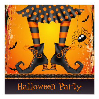 Funky Whimsical Witch Legs Halloween Party Invites