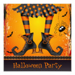 "Funky Whimsical Witch Legs Halloween Party 5.25"" Square Invitation Card"