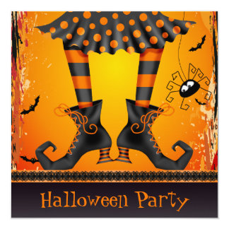 Funky Whimsical Witch Legs Halloween Party Invitation