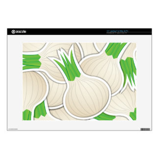 "Funky white onions 15"" laptop skin"