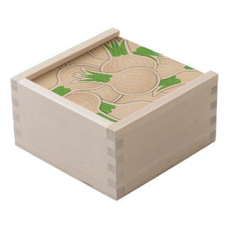 Funky white onions wooden keepsake box