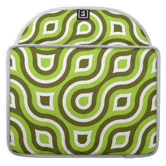 Funky Wild Circle Retro Pattern Lime Green White MacBook Pro Sleeve