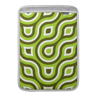 Funky Wild Circle Retro Pattern Lime Green White MacBook Sleeve