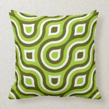 Funky Wild Circle Retro Pattern Lime Green White Throw Pillows