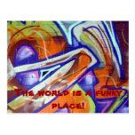 funky world graffiti designs and slogans postcards